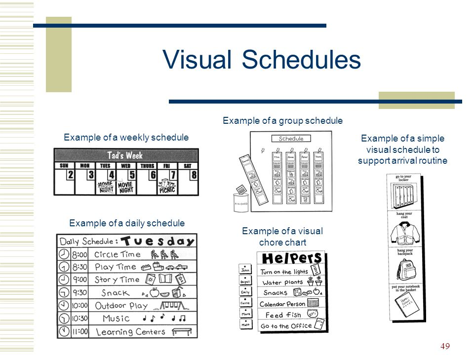 Visual Schedules Example of a group schedule