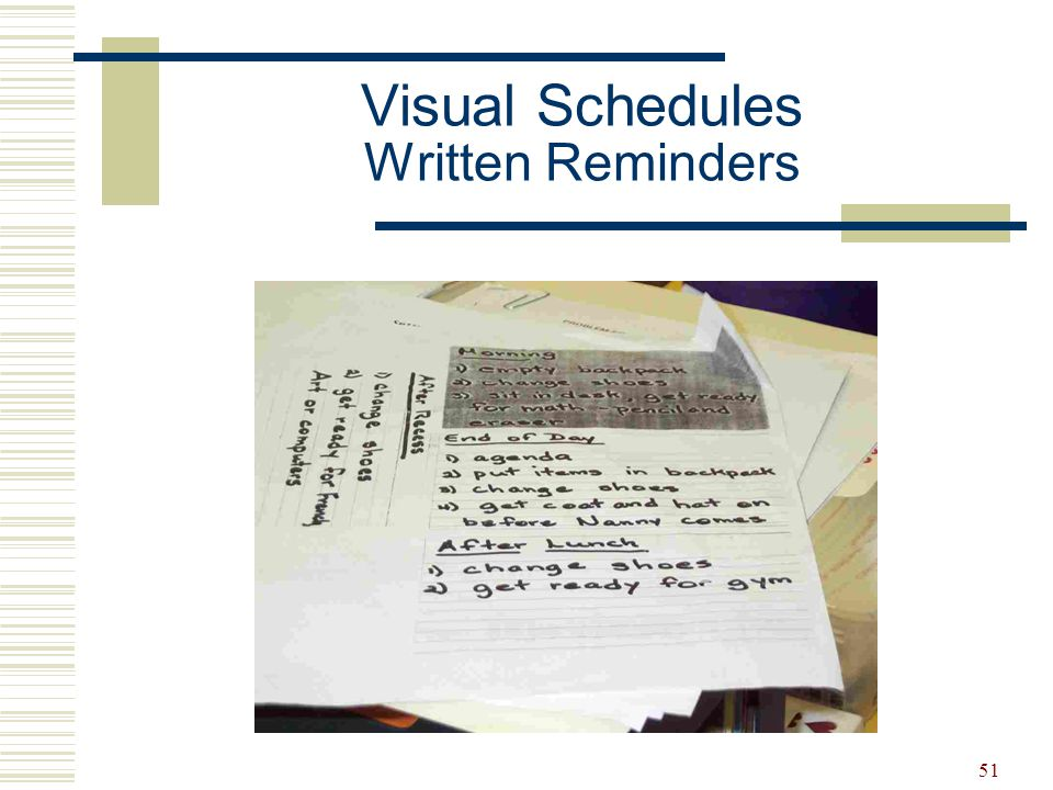 Visual Schedules Written Reminders