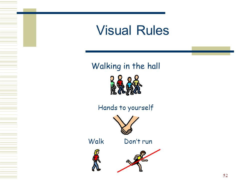 Visual Rules Walking in the hall Hands to yourself Walk Don't run