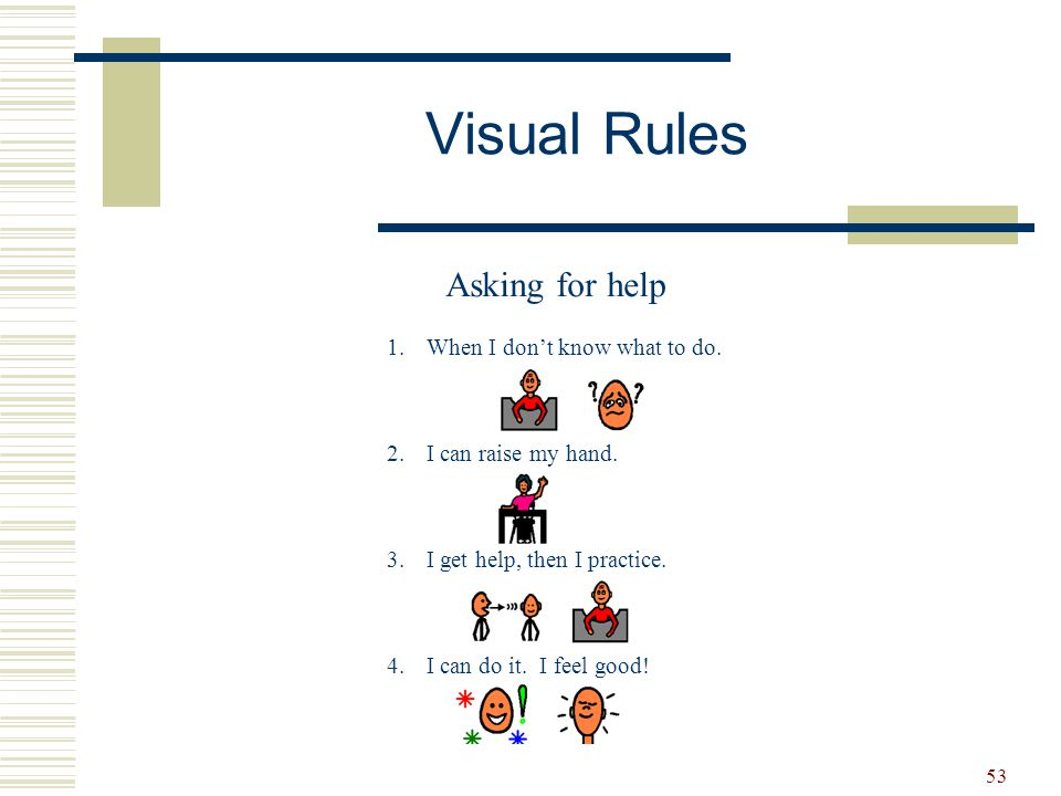 Visual Rules Asking for help When I don't know what to do.