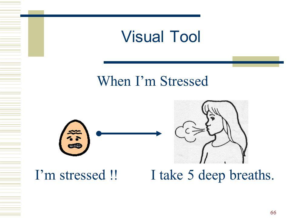 Visual Tool When I'm Stressed I'm stressed !! I take 5 deep breaths.