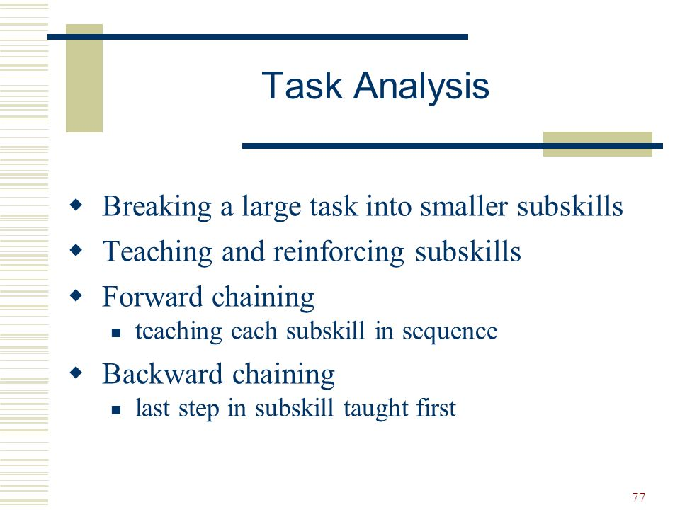 Task Analysis Breaking a large task into smaller subskills