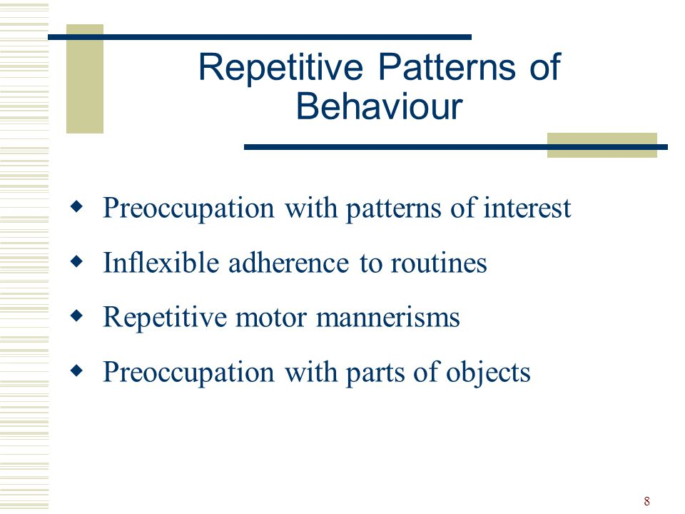 Repetitive Patterns of Behaviour