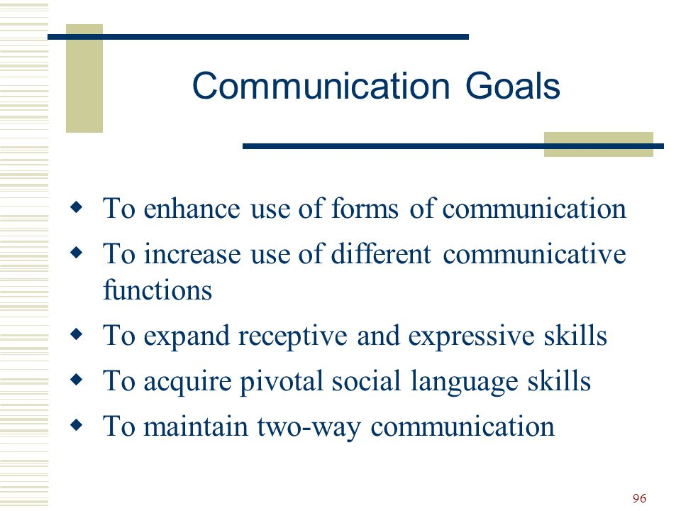 Communication Goals To enhance use of forms of communication