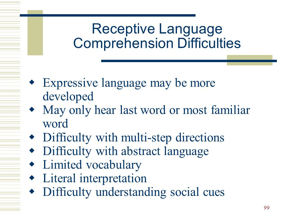 Receptive Language Comprehension Difficulties