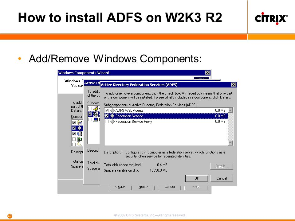 How to install ADFS on W2K3 R2