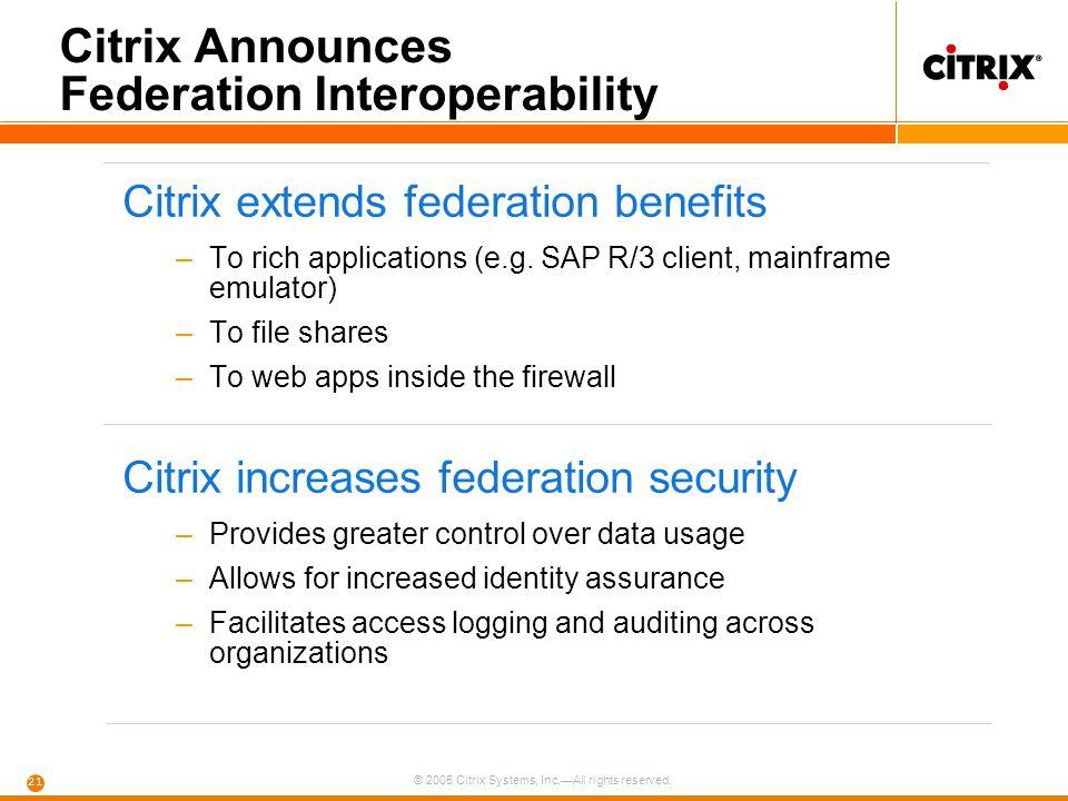 Citrix Announces Federation Interoperability