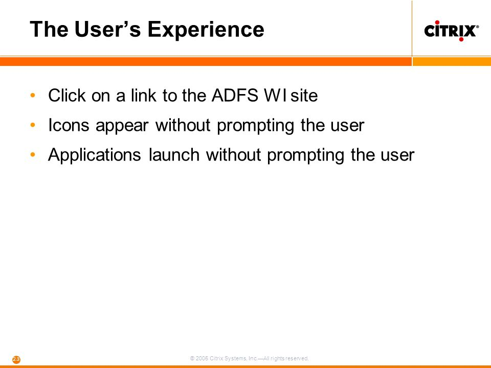 The User's Experience Click on a link to the ADFS WI site