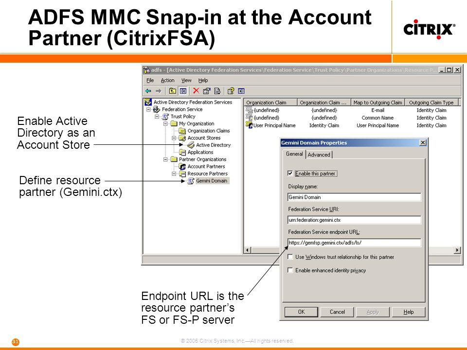 ADFS MMC Snap-in at the Account Partner (CitrixFSA)