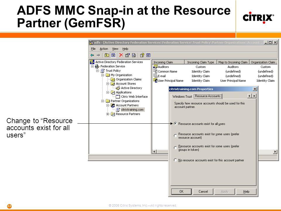 ADFS MMC Snap-in at the Resource Partner (GemFSR)