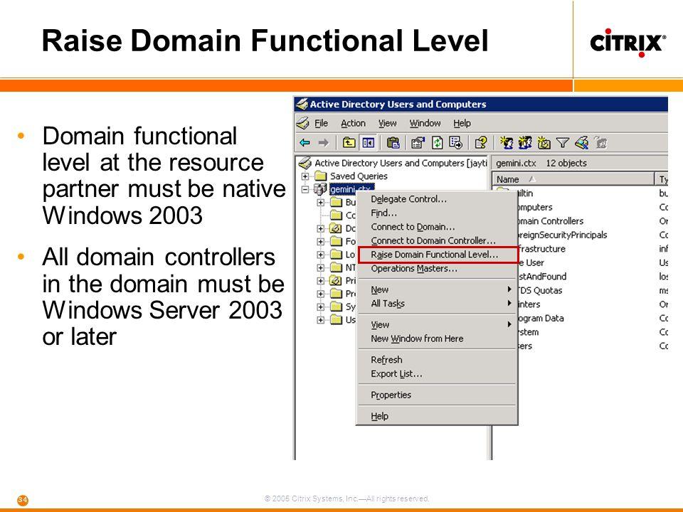 Raise Domain Functional Level