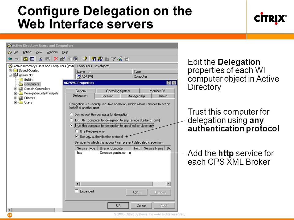 Configure Delegation on the Web Interface servers