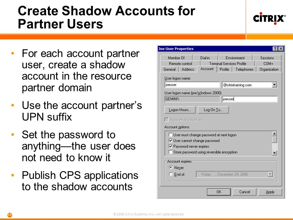 Create Shadow Accounts for Partner Users