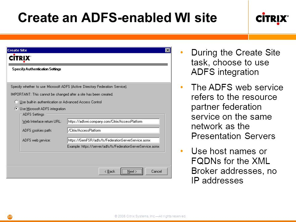 Create an ADFS-enabled WI site