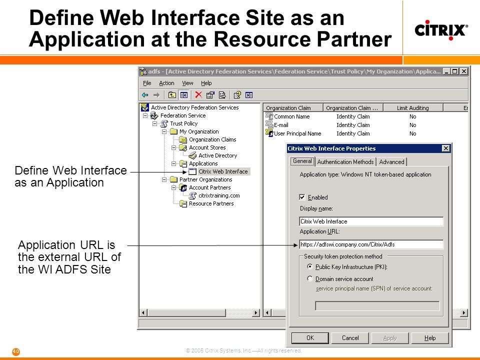 Define Web Interface Site as an Application at the Resource Partner