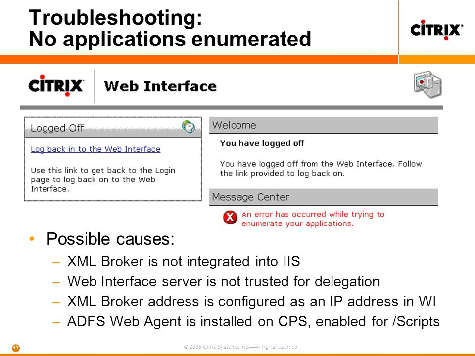 Troubleshooting: No applications enumerated