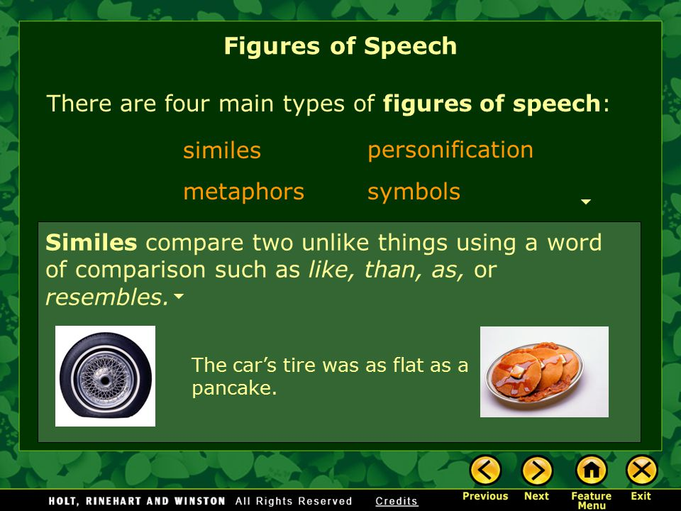 Figures of Speech There are four main types of figures of speech: