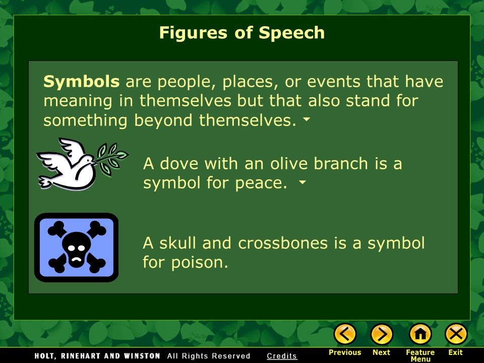Figures of Speech Symbols are people, places, or events that have meaning in themselves but that also stand for something beyond themselves.