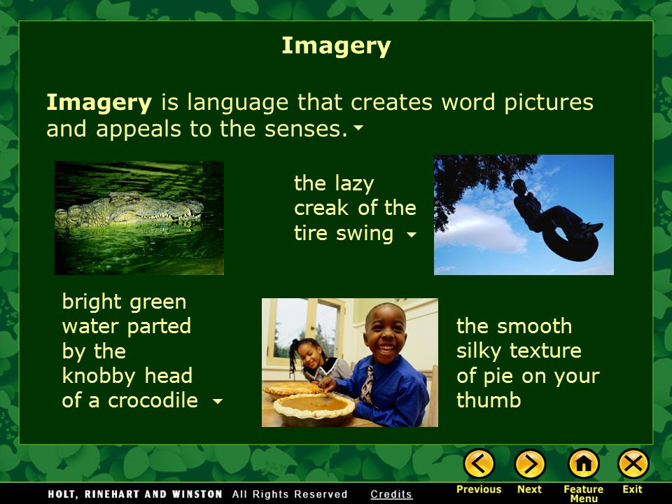 Imagery Imagery is language that creates word pictures and appeals to the senses. the lazy creak of the tire swing.