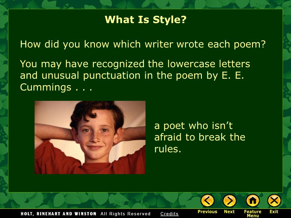 What Is Style How did you know which writer wrote each poem