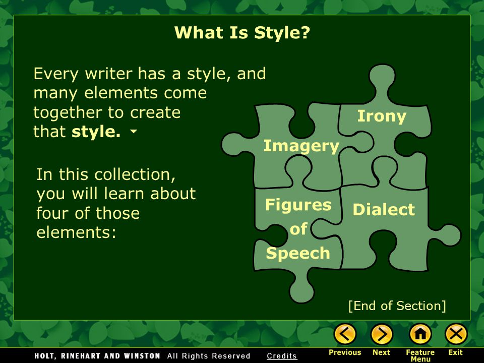 What Is Style Every writer has a style, and many elements come together to create that style.