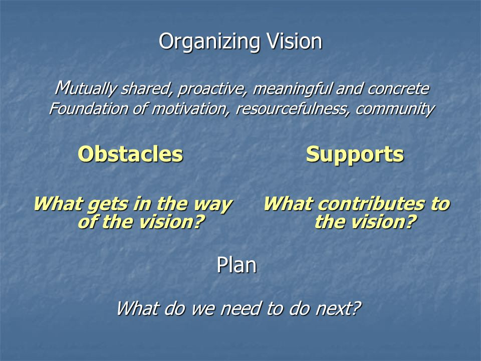 What gets in the way of the vision What contributes to the vision