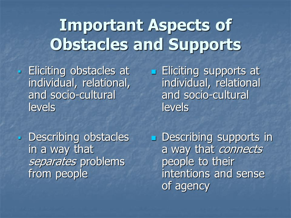 Important Aspects of Obstacles and Supports