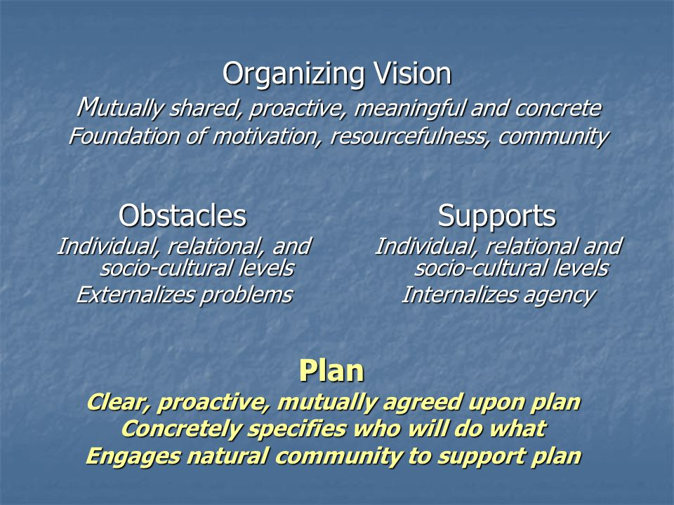 Organizing Vision Mutually shared, proactive, meaningful and concrete Foundation of motivation, resourcefulness, community