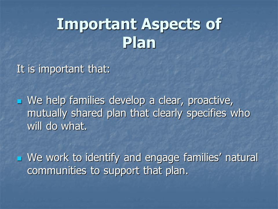 Important Aspects of Plan