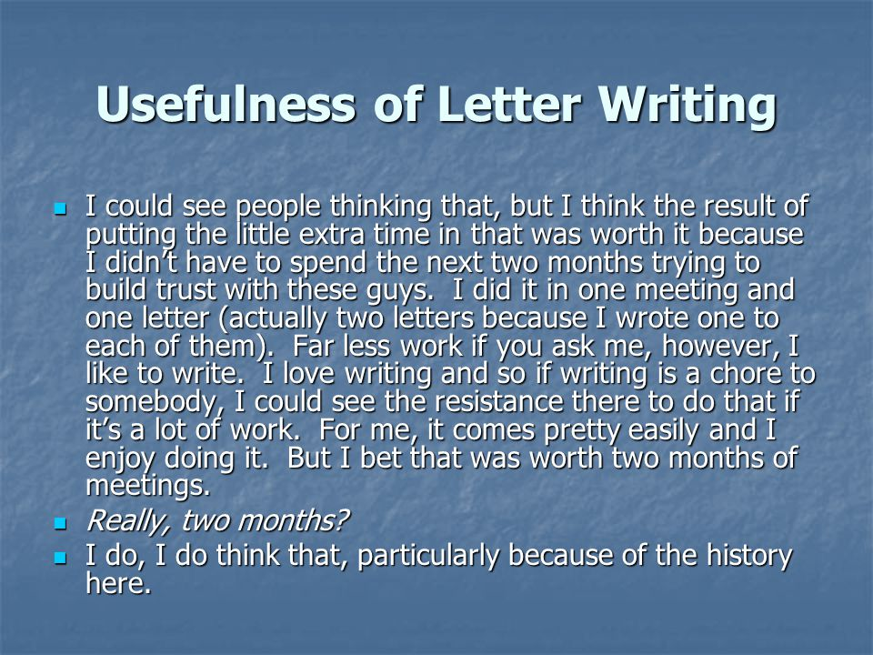 Usefulness of Letter Writing