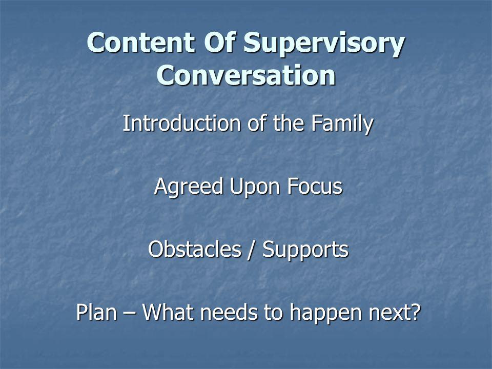 Content Of Supervisory Conversation