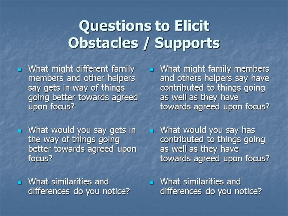 Questions to Elicit Obstacles / Supports