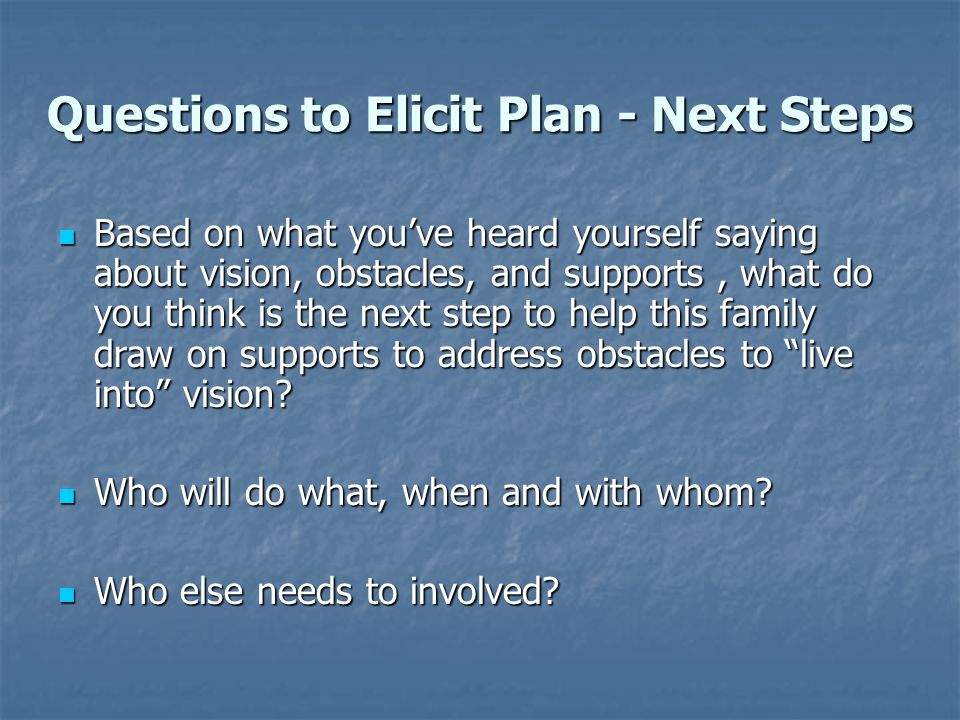 Questions to Elicit Plan - Next Steps