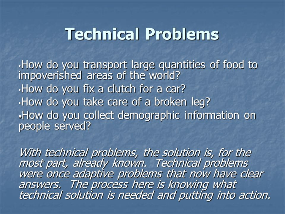 Technical Problems How do you transport large quantities of food to impoverished areas of the world