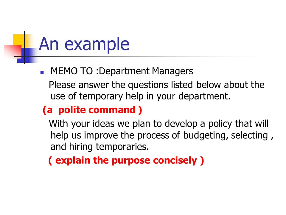 An example MEMO TO :Department Managers