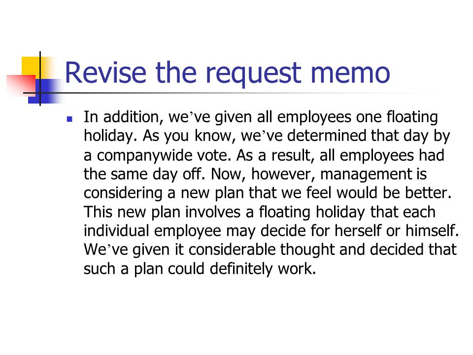 Revise the request memo