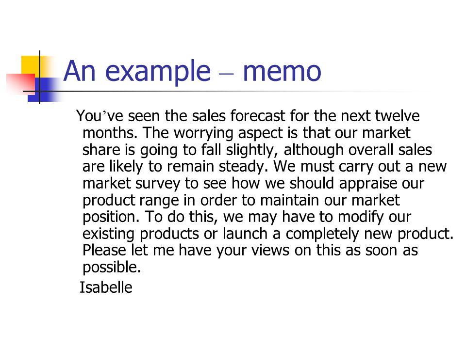 An example – memo
