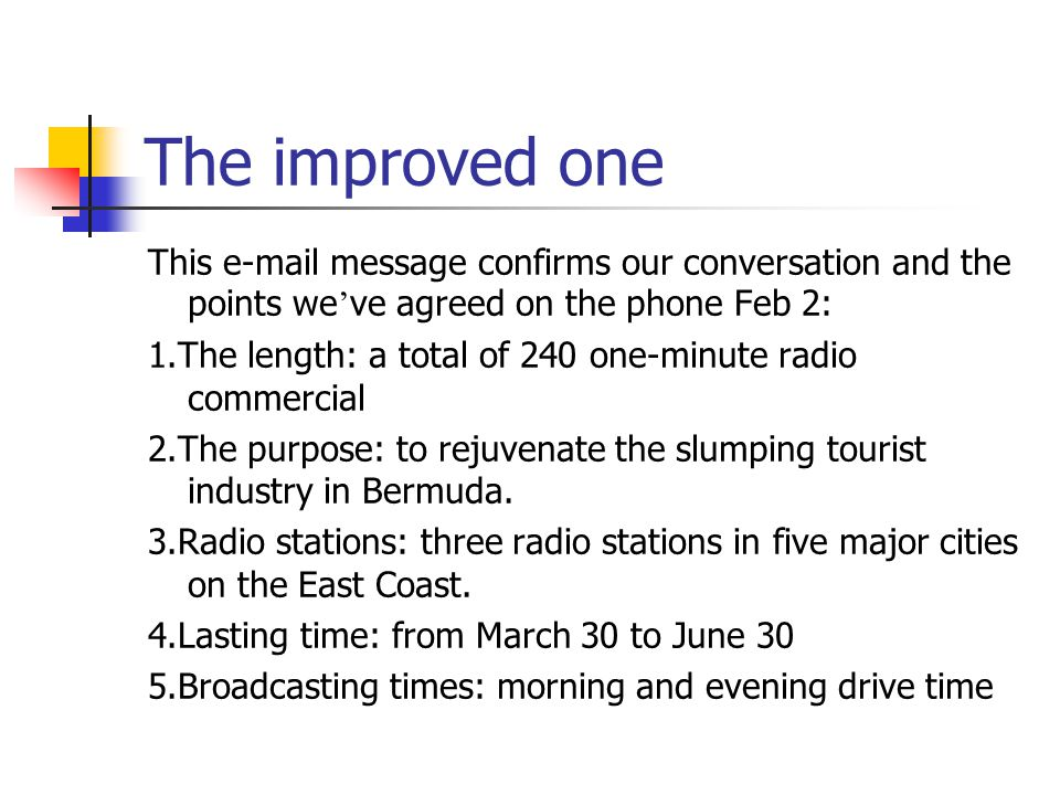 The improved one This e-mail message confirms our conversation and the points we've agreed on the phone Feb 2: