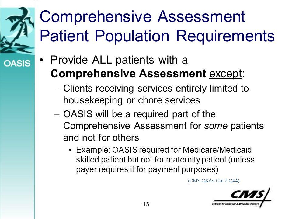 Comprehensive Assessment Patient Population Requirements