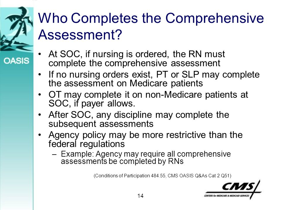 Who Completes the Comprehensive Assessment