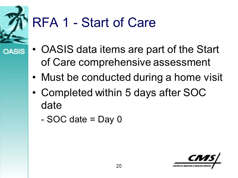 RFA 1 - Start of Care OASIS data items are part of the Start of Care comprehensive assessment. Must be conducted during a home visit.