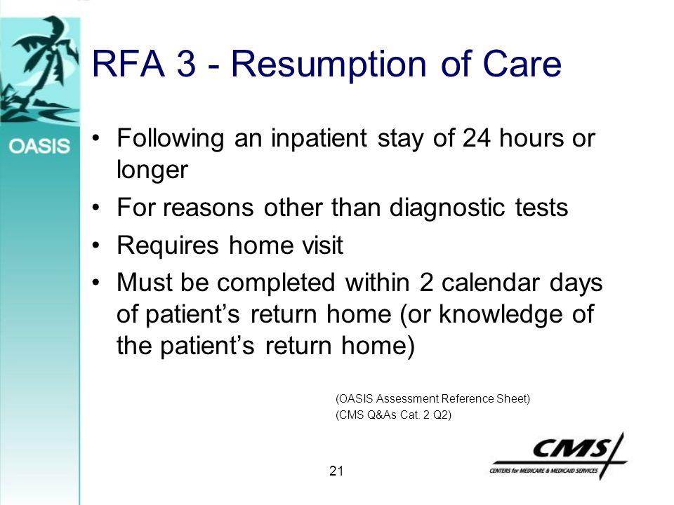 RFA 3 - Resumption of Care