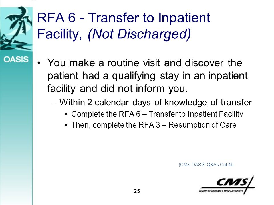 RFA 6 - Transfer to Inpatient Facility, (Not Discharged)