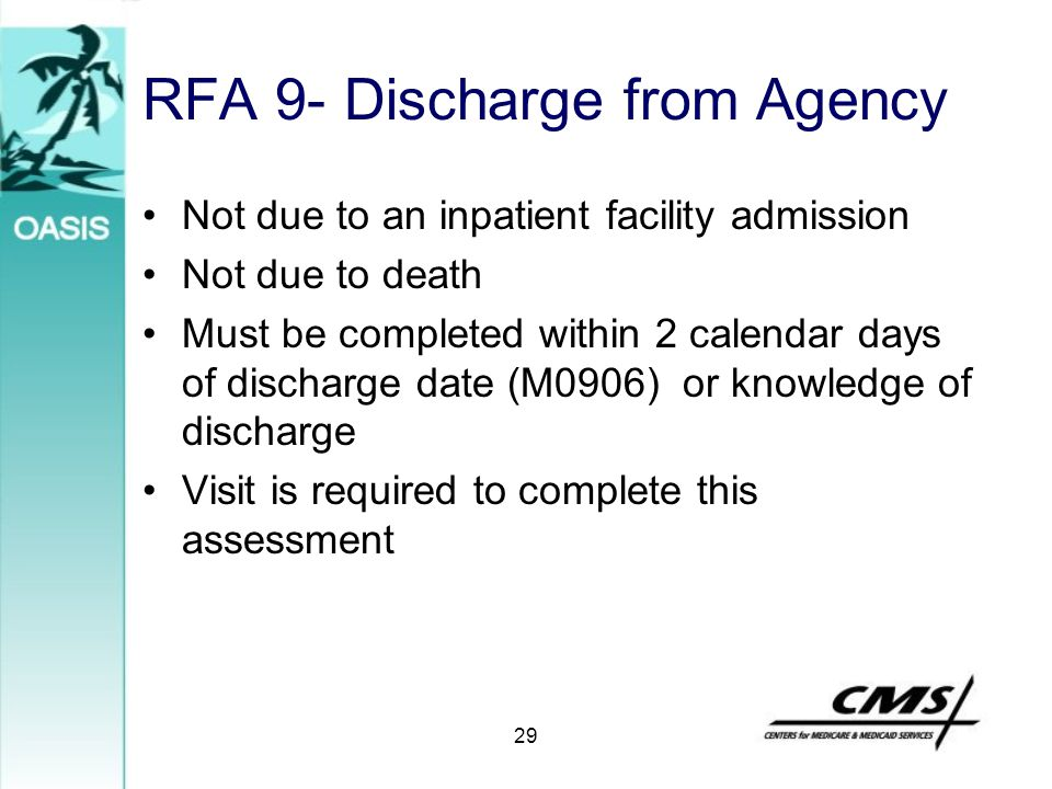 RFA 9- Discharge from Agency