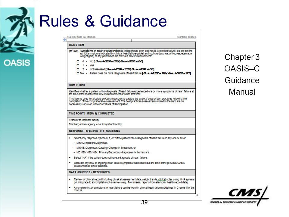Rules & Guidance Chapter 3 OASIS–C Guidance Manual 39