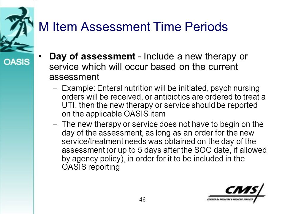 M Item Assessment Time Periods