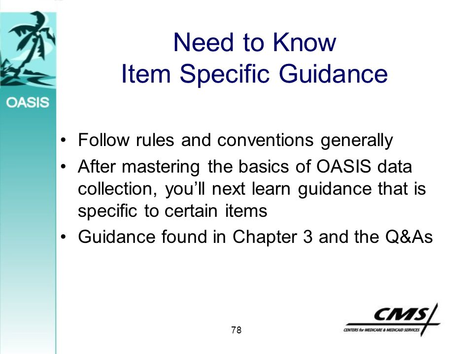 Need to Know Item Specific Guidance