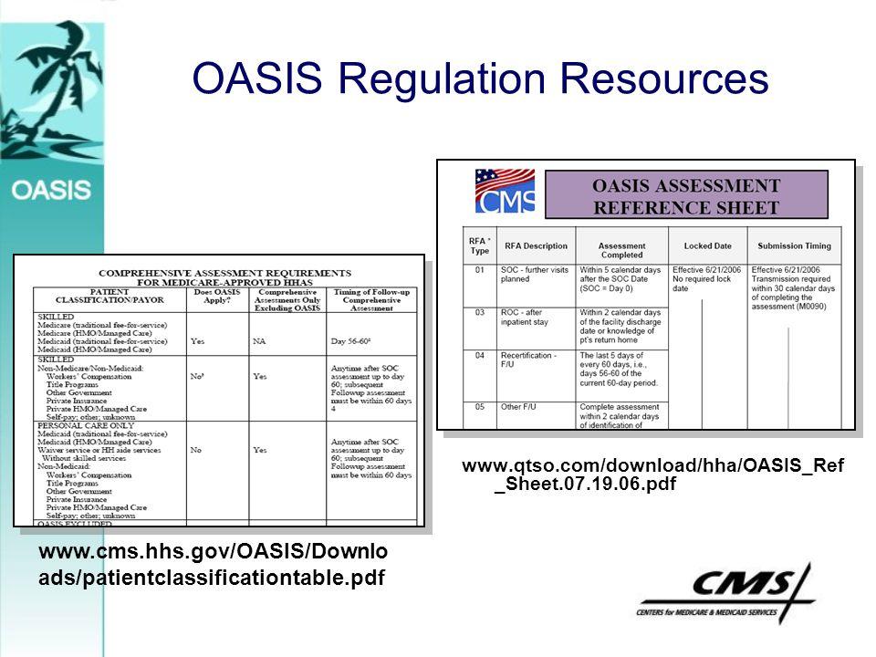 OASIS Regulation Resources