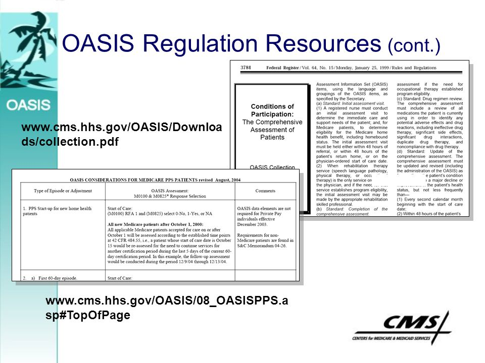 OASIS Regulation Resources (cont.)