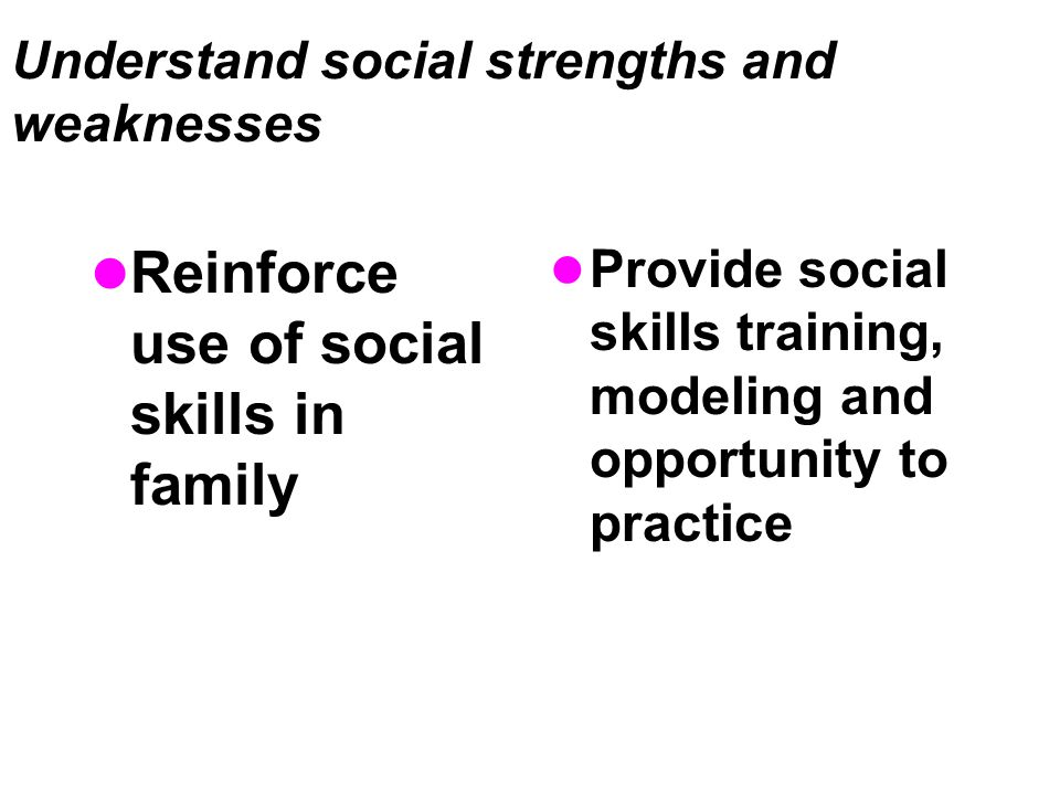 Understand social strengths and weaknesses